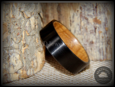 "Bentwood Ring - ""Rugged & Refined"" Whiskey Oak and Tungsten Carbide Black"