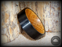 "Bentwood Ring - ""Rugged & Refined"" Whiskey Oak and Tungsten Carbide Black handcrafted bentwood wooden rings wood wedding ring engagement"