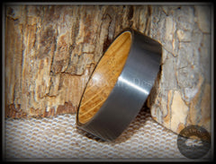 "Bentwood Ring - ""Rugged & Refined"" Whiskey Oak and Tungsten Carbide Gunmetal Gray handcrafted bentwood wooden rings wood wedding ring engagement"