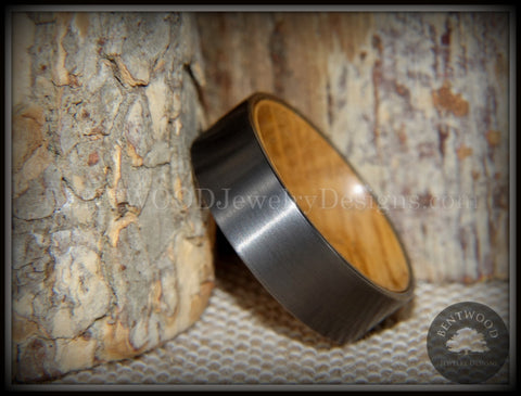 "Bentwood Ring - ""Rugged & Refined"" Whiskey Oak and Tungsten Carbide Gunmetal Gray"
