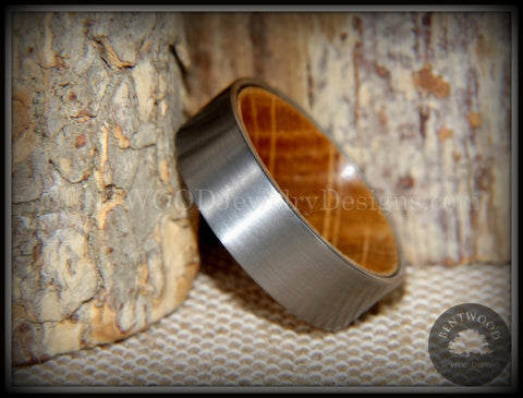 "Bentwood Ring - ""Rugged & Refined"" Whiskey Oak and Tungsten Carbide Silver"