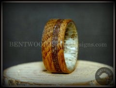 "Bentwood Ring - ""Dino Hunter"" Whiskey Oak Barrel Oak, Deer Antler and Dinosaur Fossil handcrafted bentwood wooden rings wood wedding ring engagement"
