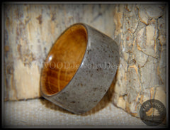 "Bentwood Ring -  ""Quarry"" Stone & Whiskey Barrel Oak handcrafted bentwood wooden rings wood wedding ring engagement"