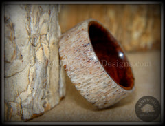 "Bentwood Ring - ""The Hunter"" Antler on Snakewood handcrafted bentwood wooden rings wood wedding ring engagement"