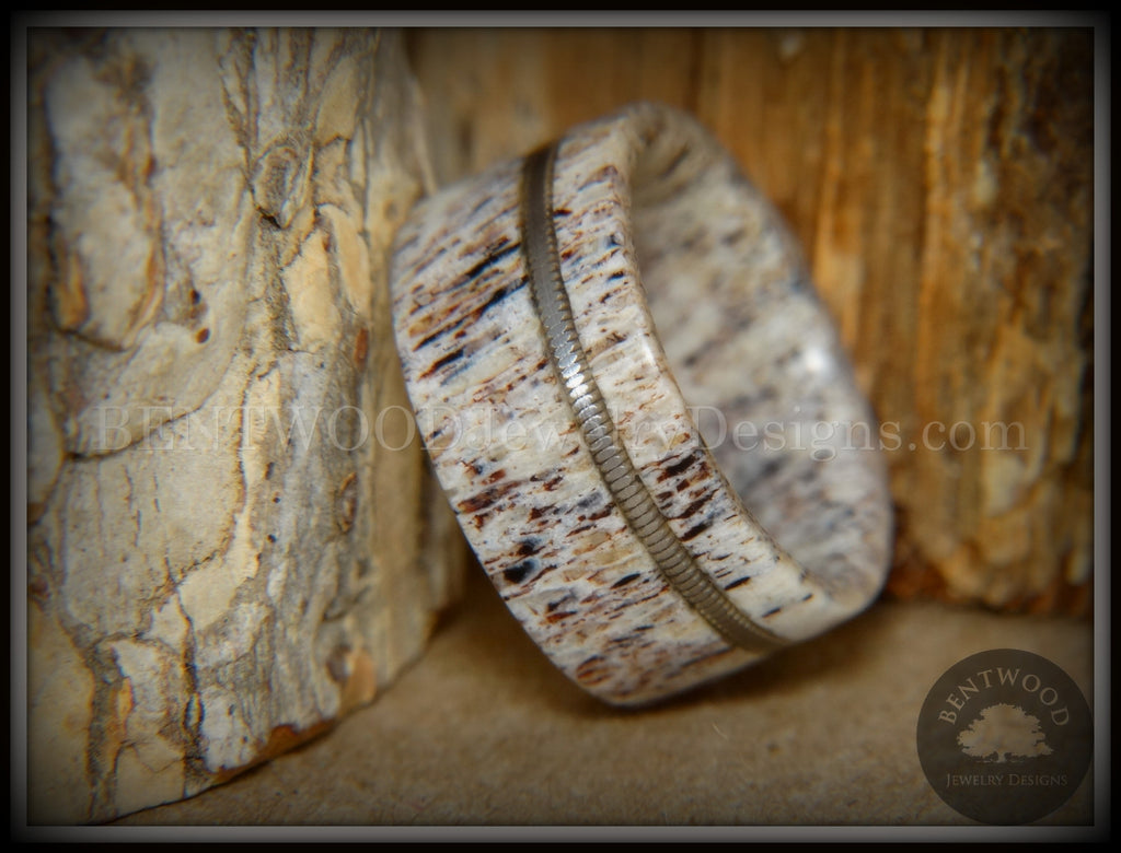 "Bentwood Ring - ""Nature's Melody"" Antler and Guitar String Inlay handcrafted bentwood wooden rings wood wedding ring engagement"