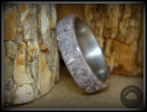 "Bentwood Ring - ""Remembrance"" Cremation Ashes and Charoite on Titanium Core"