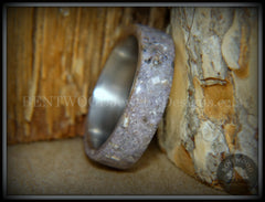 "Bentwood Ring - ""Remembrance"" Cremation Ashes and Charoite on Titanium Core handcrafted bentwood wooden rings wood wedding ring engagement"