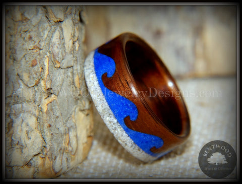 "Bentwood Ring -  ""Beach Waves"" Koa, Blue Lapis & Beach Sand"