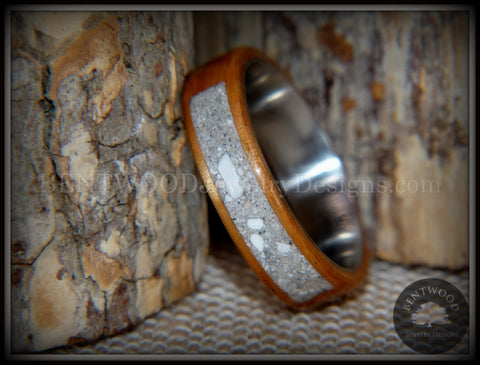 "Bentwood Ring - ""Pillar"" Light Koa Wood Cremation Ash Inlay Titanium Core"