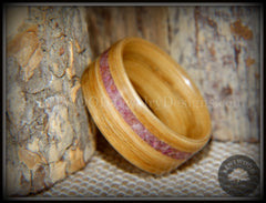"Bentwood Ring - ""Ruby Rose"" North American White Oak Ruby Inlay handcrafted bentwood wooden rings wood wedding ring engagement"