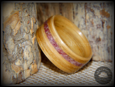 "Bentwood Ring - ""Ruby Rose"" North American White Oak Ruby Inlay"