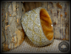 "Bentwood Ring - ""The Gold Diamond Waffle Wedge"" Bethlehem Olivewood and German silver and gold glass inlay handcrafted bentwood wooden rings wood wedding ring engagement"