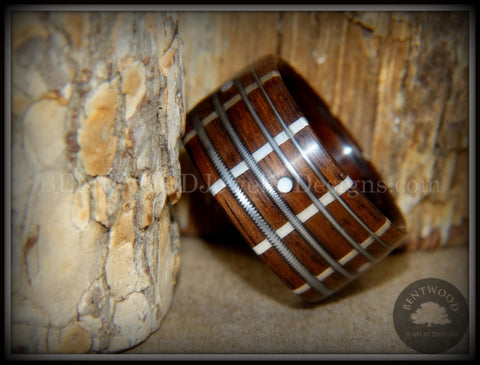 "Bentwood Ring - ""The Guitar Man"" Rosewood, Silver Frets, Mother of Pearl Dot Inlays and Stainless Steel Guitar Strings"