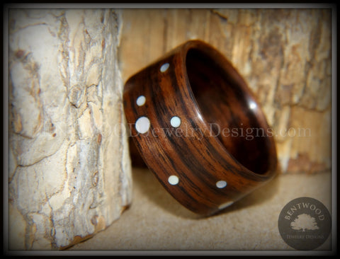"Bentwood Ring - ""Composition"" Rosewood Ring with Random Mother of Pearl Dot Inlays"