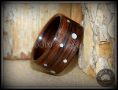 "Bentwood Ring - ""Composition"" Rosewood Ring with Random Mother of Pearl Dot Inlays handcrafted bentwood wooden rings wood wedding ring engagement"