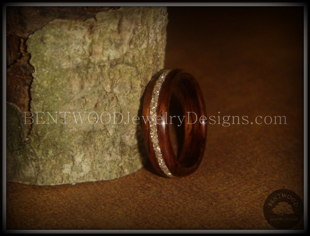 Bentwood Ring - Rosewood Wooden Ring with Silver Glass Inlay - Bentwood Jewelry Designs - Custom Handcrafted Bentwood Wood Rings