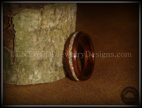 Bentwood Ring - Rosewood Wooden Ring with Silver Glass Inlay
