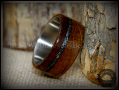 "Bentwood Ring - ""The Namibia Blend"" charred whiskey barrel oak, Gibeon meteorite inlay on titanium core handcrafted bentwood wooden rings wood wedding ring engagement"