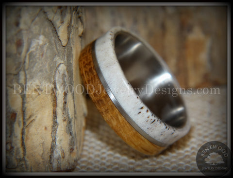 "Bentwood Ring - ""Huntsman"" Antler, Whiskey Barrel Oak, Titanium Inlay and Core"