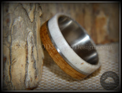 "Bentwood Ring - ""Huntsman"" Antler, Whiskey Barrel Oak, Titanium Inlay and Core handcrafted bentwood wooden rings wood wedding ring engagement"