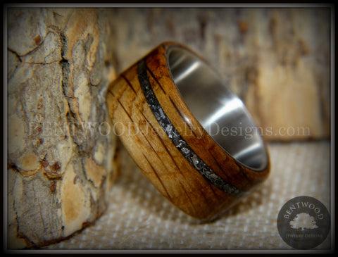 "Bentwood Ring - ""The Namibia Blend"" charred whiskey barrel oak, Gibeon meteorite inlay on titanium core"