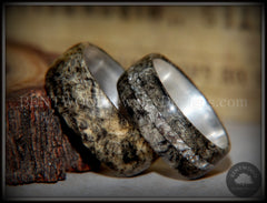 "Bentwood Rings Set - ""Ohio"" Buckeye Burl on Silver Core Classic and Glass Inlay handcrafted bentwood wooden rings wood wedding ring engagement"