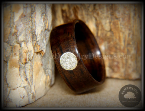 Bentwood Ring - Macassar Ebony with Brass & Glass Circle Inlay