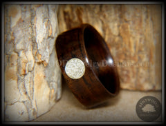 Bentwood Ring - Macassar Ebony with Brass & Glass Circle Inlay handcrafted bentwood wooden rings wood wedding ring engagement