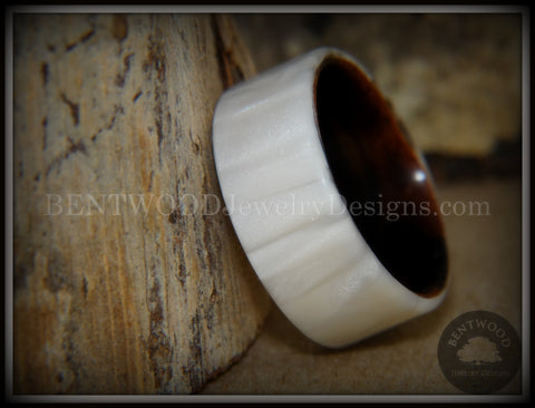 "Bentwood Ring - ""Iridescent"" Mother of Pearl Kirinite Full Inlay on Ebony Wood Core"