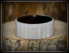 "Bentwood Ring - ""Iridescent"" Mother of Pearl Kirinite Full Inlay on Ebony Wood Core handcrafted bentwood wooden rings wood wedding ring engagement"