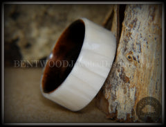 Ebony wood wedding engagement ring mother of pearl inlay
