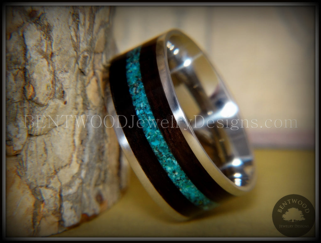 Bentwood Ring Turquoise Inlay On Surgical Grade