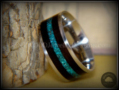 Bentwood Ring - Ebony with Chrysocolla Inlay on Surgical Grade Stainless Steel Comfort Fit Metal Core - Bentwood Jewelry Designs - Custom Handcrafted Bentwood Wood Rings  - 5