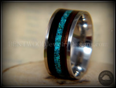 Bentwood Ring - Ebony with Chrysocolla Inlay on Surgical Grade Stainless Steel Comfort Fit Metal Core - Bentwood Jewelry Designs - Custom Handcrafted Bentwood Wood Rings  - 6