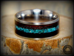 Bentwood Ring - Ebony with Chrysocolla Inlay on Surgical Grade Stainless Steel Comfort Fit Metal Core handcrafted bentwood wooden rings wood wedding ring engagement