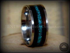 Bentwood Ring - Ebony with Chrysocolla Inlay on Surgical Grade Stainless Steel Comfort Fit Metal Core - Bentwood Jewelry Designs - Custom Handcrafted Bentwood Wood Rings