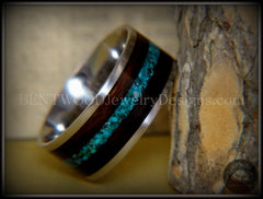 Bentwood Ring - Ebony with Chrysocolla Inlay on Surgical Grade Stainless Steel Comfort Fit Metal Core - Bentwood Jewelry Designs - Custom Handcrafted Bentwood Wood Rings  - 2