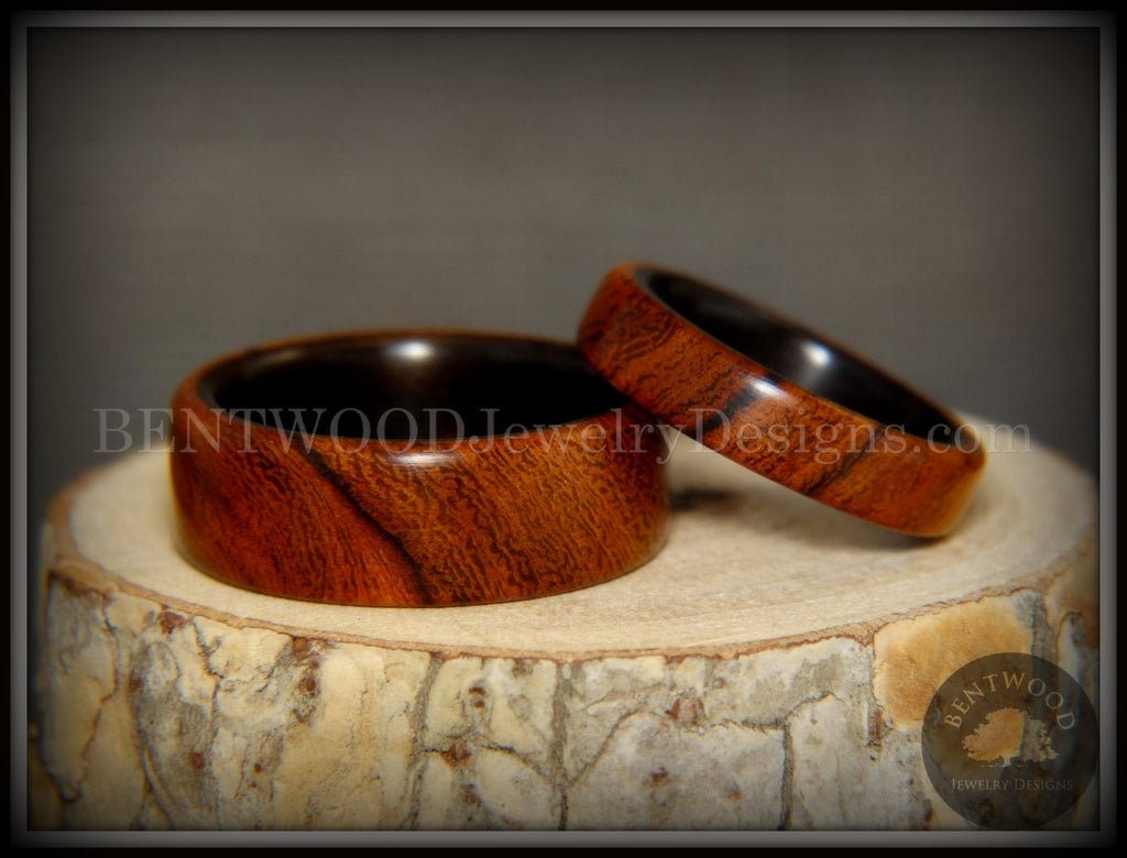 "Bentwood Rings Set - ""One True Pairing"" Desert Ironwood on Carbon Fiber Core Set handcrafted bentwood wooden rings wood wedding ring engagement"