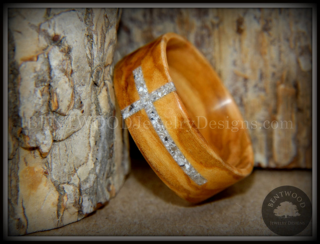 "Bentwood Ring - ""The Cross"" Olivewood Classic Inlaid with Cremation Ashes handcrafted bentwood wooden rings wood wedding ring engagement"