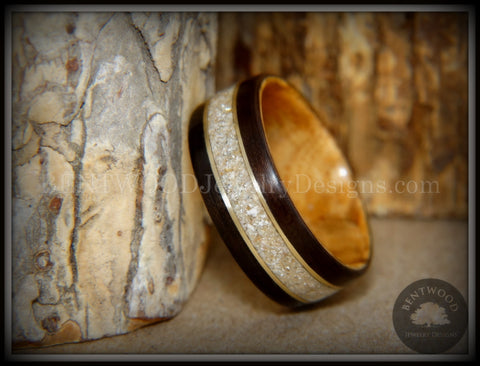 "Bentwood Ring - ""Tracks Memorial"" Dark Ebony/Olivewood Ring with Gold Wires and Cremation Ashes with Glass Inlay"