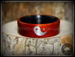 "Bentwood Ring - ""Yin Yang"" Padauk on Carbon Fiber Core Silver Engraved Yin Yang handcrafted bentwood wooden rings wood wedding ring engagement"