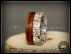 "Bentwood Ring - ""The Pursuit"" Antler and Rosewood Inlay handcrafted bentwood wooden rings wood wedding ring engagement"