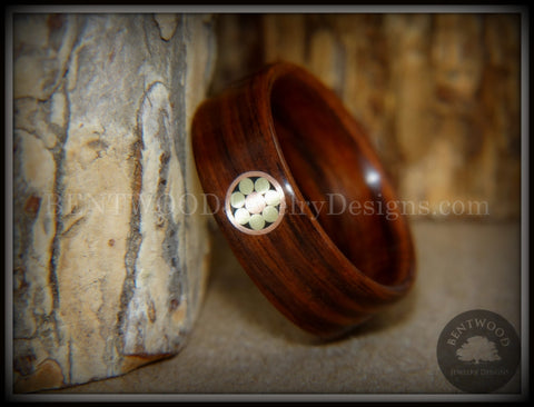 "Bentwood Ring - ""Metal Mosaic II"" Kingwood Ring with Copper/Brass Pattern Inlay"