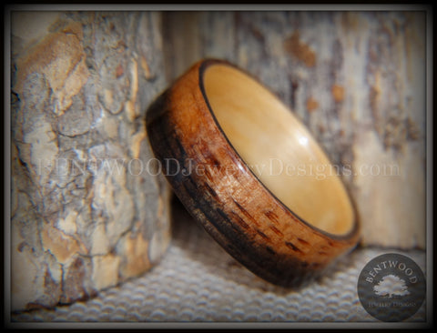 Bentwood Ring - Macassar Ebony Wood Ring (Striped) with Birch Liner using Bentwood Process