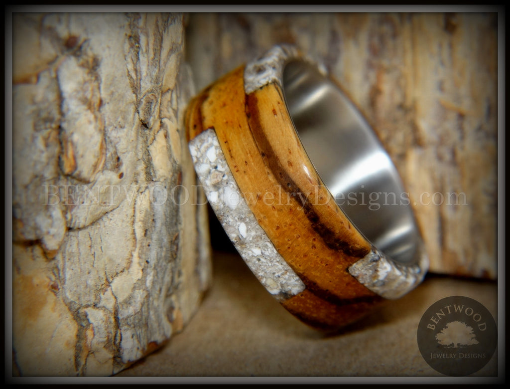 "Bentwood Ring - ""Remembrance"" Zebrawood Cremation Ash Inlay on Titanium Steel Comfort Fit Core handcrafted bentwood wooden rings wood wedding ring engagement"