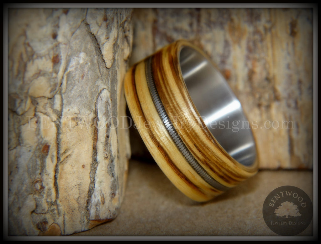 "Bentwood Ring - ""Striped Rocker"" Zebrawood Ring with Silver Electric Guitar String Inlay on Comfort Fit Titanium Steel Core handcrafted bentwood wooden rings wood wedding ring engagement"