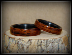 "Bentwood Rings Set - ""Composite"" Cocobolo on Carbon Fiber Cores handcrafted bentwood wooden rings wood wedding ring engagement"