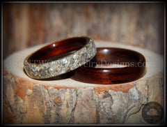 Bentwood Rings Set - Kingwood  Classic and Kingwood Full Glass Inlay handcrafted bentwood wooden rings wood wedding ring engagement