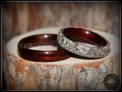 Bentwood Rings Set - Kingwood  Classic and Kingwood Full Glass Inlay - Bentwood Jewelry Designs - Custom Handcrafted Bentwood Wood Rings