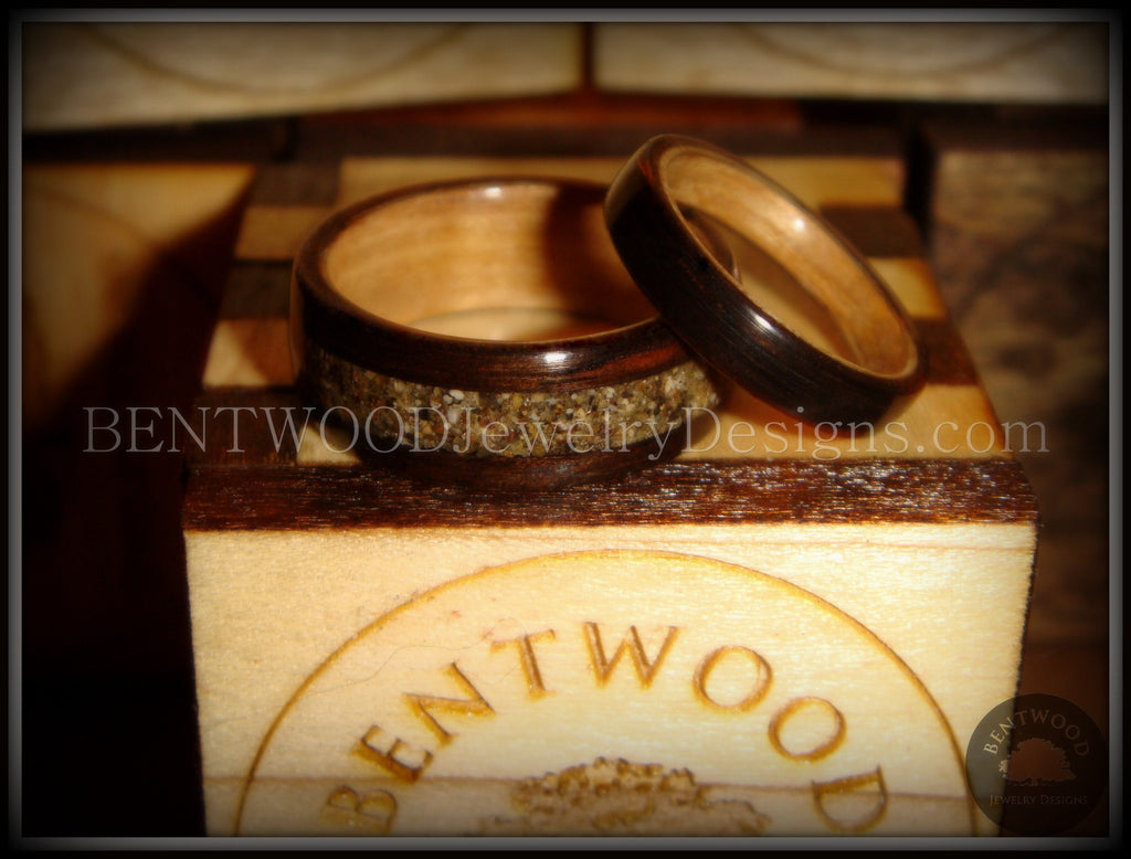 Ebony Wood Ring Set Birch Liner Canadian Beach Sand Inlay Custom Handcrafted Bentwood Wood Rings